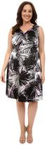 London Times Plus Size Pool Palm V-Neck Full Skirt