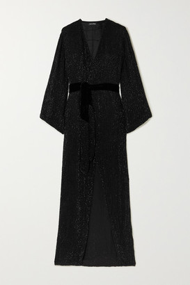 retrofete Janet Velvet-trimmed Sequined Chiffon Maxi Wrap Dress - Black