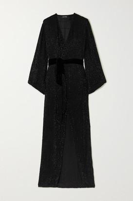 retrofete Janet Velvet-trimmed Sequined Chiffon Maxi Wrap Dress - Black
