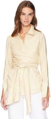 C/Meo Collective Women's Believe in ME Long Sleeve Button Down WRAP TIE Front Shirt