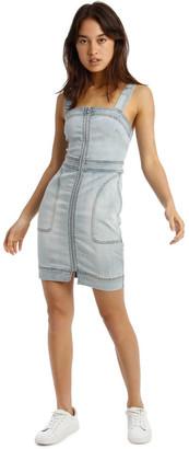 Miss Shop Zip Thru Utility Pocket Denim Dress Lt