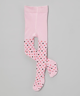 Mulberribush Pink & Black Polka Dot Tights - Infant Toddler & Girls