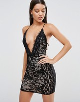 Missguided Lace Plunge Strappy Bodycon Dress