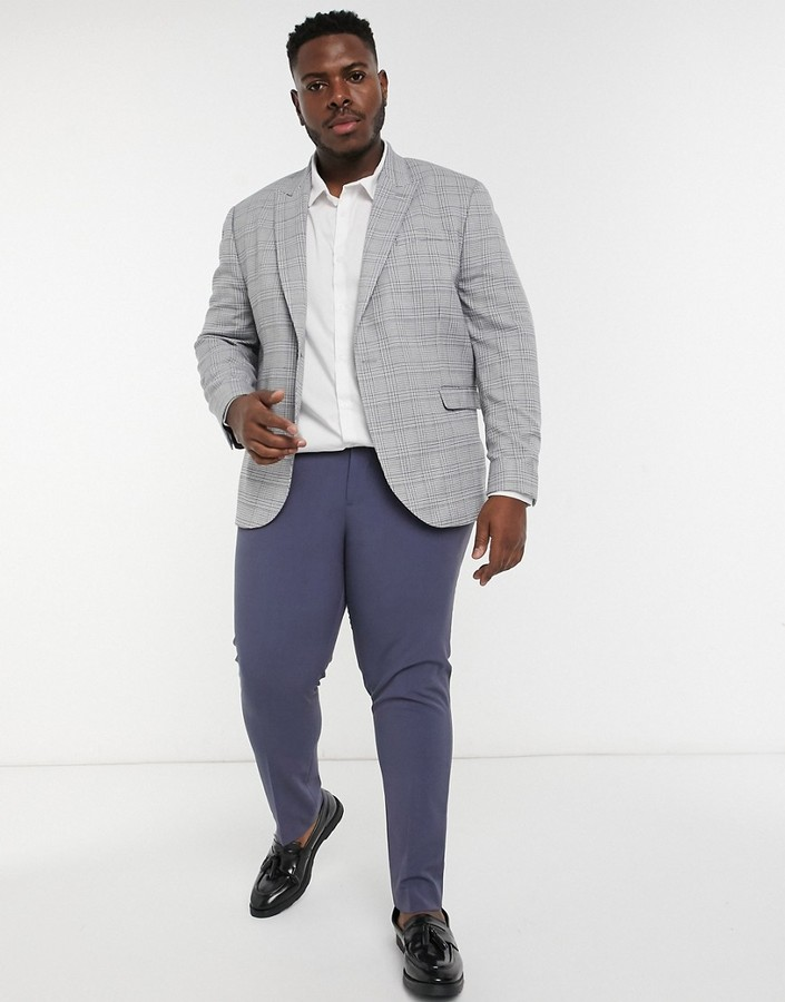 Thumbnail for your product : Topman Big & Tall skinny suit jacket in grey