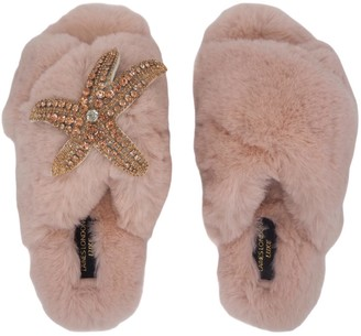 Laines London Laines Luxe Fluffy Pink Slippers With Diamante Rose Gold Starfish Brooch