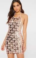 PrettyLittleThing Rose Gold Sequin Halterneck Bodycon Dress