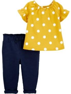 Carter's Baby Girl 2-Piece Polka Dot Top & Slub Jersey Pant Set
