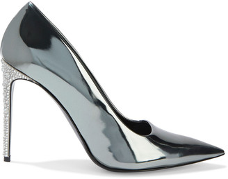 Stella McCartney Crystal-embellished Faux Mirrored-leather Pumps