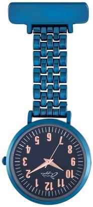 Bermuda Watch Company Annie Apple Rose Gold/Blue Links Bracelet Nurse Fob Watch