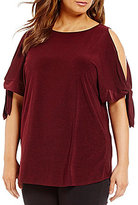 Gibson & Latimer Plus Cold-Shoulder Tie-Hem Top