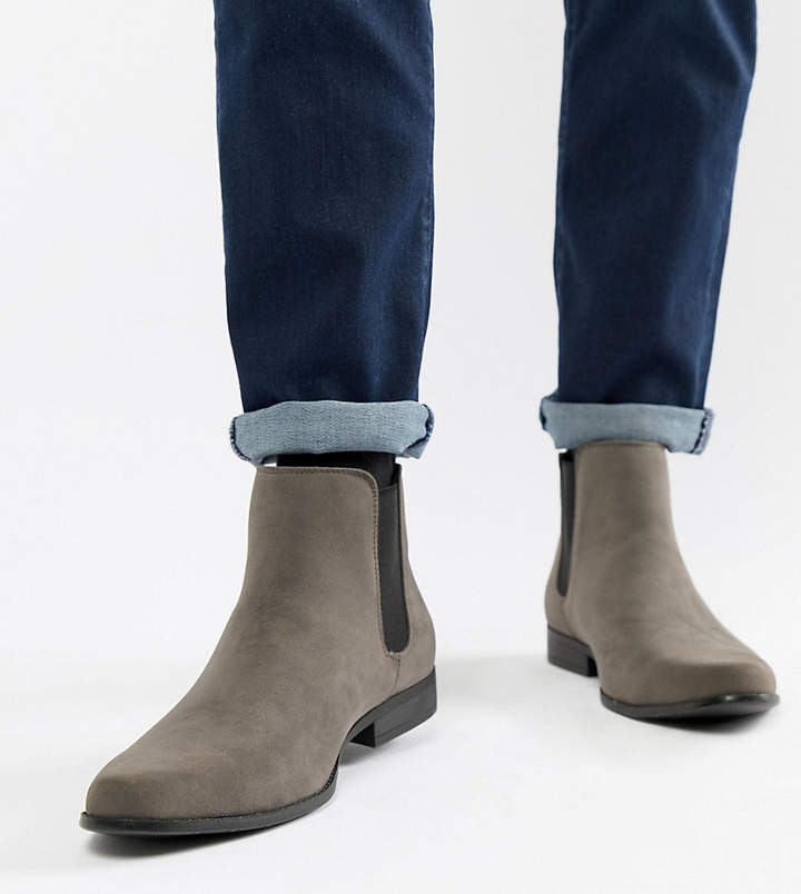 83c9405514f Design DESIGN Wide Fit chelsea boots in grey faux suede