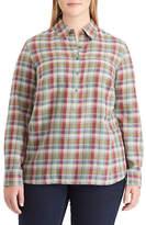 Chaps Plus Plaid Cotton Button Down Shirt