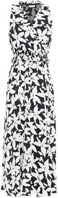 Joie Shirred Floral-print Crepe De Chine Midi Dress