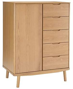 House by John Lewis Bow 5 Drawer Low Wardrobe, Oak