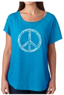 LA Pop Art Women's Dolman Cut Word Art Shirt - The Word Peace in 77 Languages