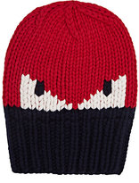 Fendi Men's Rib-Knit Wool Hat-RED