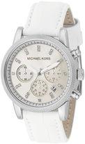 Watch, Women's Chronograph Ritz White Leather Strap 37mm MK5049