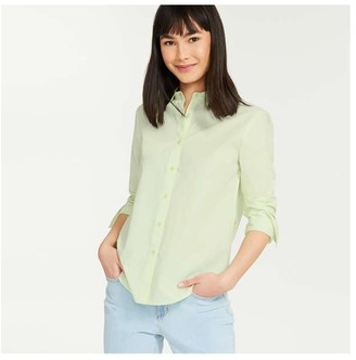 Joe Fresh Women's Stripe Classic-Fit Shirt, Light Green (Size L)
