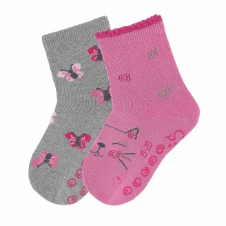 Sterntaler Baby Girls' Chaussettes AntidArapantes Dp Chat+papillon Calf Socks