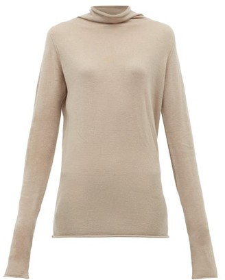 Raey Sheer Raw Edge Funnel Neck Cashmere Sweater - Womens - Grey