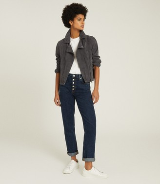 Reiss LUNA SUEDE BIKER JACKET Charcoal