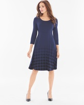 Soma Intimates 3/4 Sleeve Fit and Flare Short Dress Houndstooth Ombre Navy