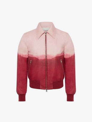 Alexander McQueen Dip Dye Leather Printed Bomber Jacket