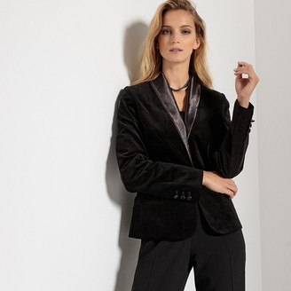Anne Weyburn Straight Velvet Blazer with Satin Collar