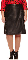 Liz Claiborne Pleather A-Line Midi Skirt - Plus
