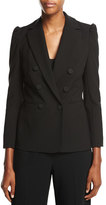 Rebecca Taylor Double-Breasted Suiting Blazer, Black