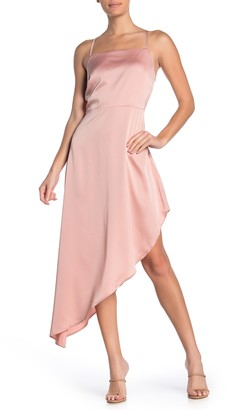 Material Girl Square Neck Satin High/Low Midi Dress