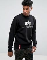 Alpha Industries Logo Crew Sweatshirt In Black