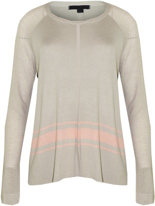 Elegant Vap Ladies Knitted Jumper Ex Chainstore Kitted Long Sleeve Round Neck Sweater Pullover Winter Top (Grey Pink Strip M)