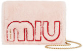 Miu Miu Shearling And Textured-leather Shoulder Bag - Pink