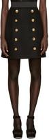 Dolce & Gabbana Black Wool Gold Buttons Skirt