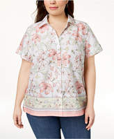 Karen Scott Plus Size Cotton Border-Print Shirt, Created for Macy's
