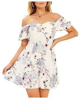 MinkPink Off Shoulder Puff Sleeve Dress