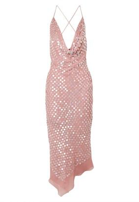 Pink Sequined Silk Dress