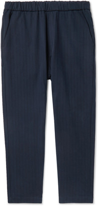 Barena Navy Arenga Tapered Striped Cotton-Blend Drawstring Trousers