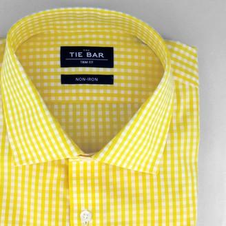 Tie Bar Gingham Yellow Non-Iron Dress Shirt