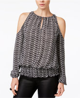 Bar III Smocked Cold-Shoulder Top, Only at Macy's