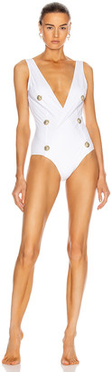 Balmain Buttons Swimsuit in White | FWRD