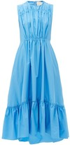 Roksanda Lucia Tiered Cotton-poplin Dress - Womens - Light Blue
