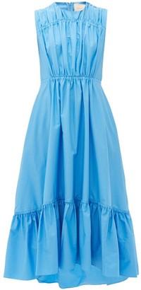 Roksanda Lucia Tiered Cotton-poplin Dress - Womens - Light Blue