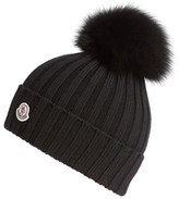 Moncler Women's Genuine Fox Fur Pom Ribbed Wool Beanie - Black