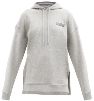 Ganni Software Recycled Cotton-blend Hooded Sweatshirt - Light Grey