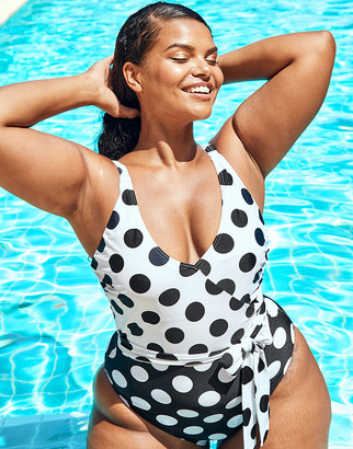 Figleaves Marilyn Curve Non Wired Polka Dot Tummy Control Swimsuit