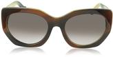 Balenciaga BA0017 47T Brown Horn Acetate Cat Eye Sunglasses