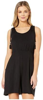 Dotti Resort Solids Elastic Waist Tank Dress Cover-Up (Black) Women's Swimwear