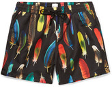 Paul Smith Mid-length Feather-print Swim Shorts - Black